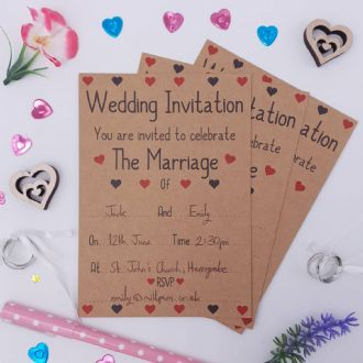 Kraft Wedding Invitations & Envelopes - 1 Pack Of 8 - Love Hearts Collection